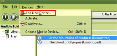 Add your MP3 player to Audible Manager