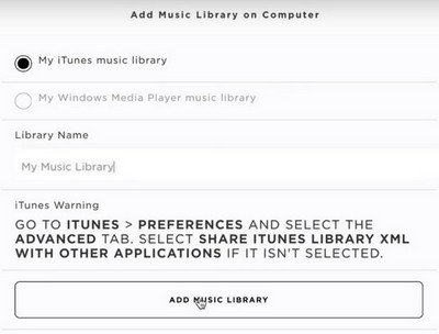 Choose music library from computer