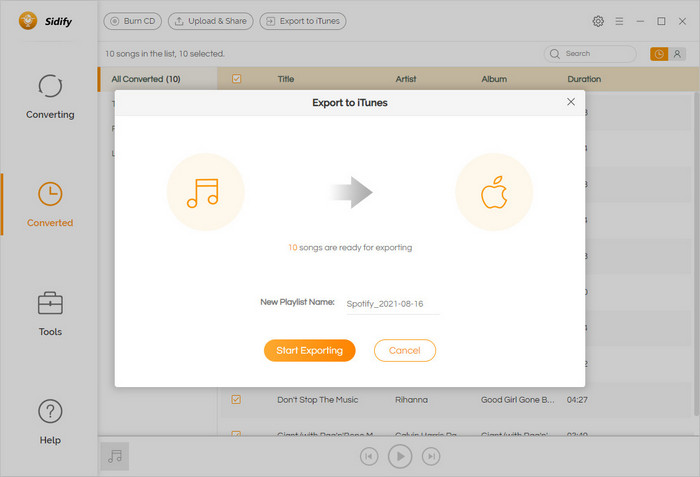 export Spotify music to iTunes