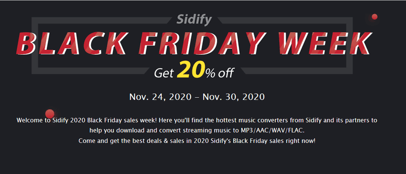 sidify 2020 black friday offer