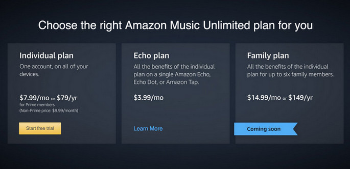 Amazon Music Unlimited costs
