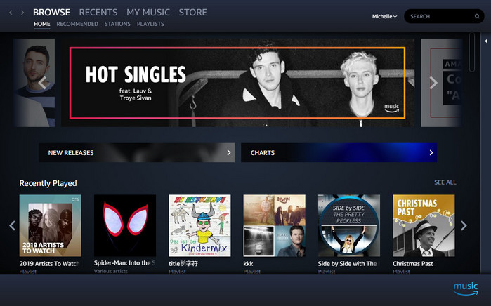 Amazon Music main interface
